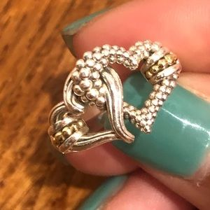 Lagos double heart ring